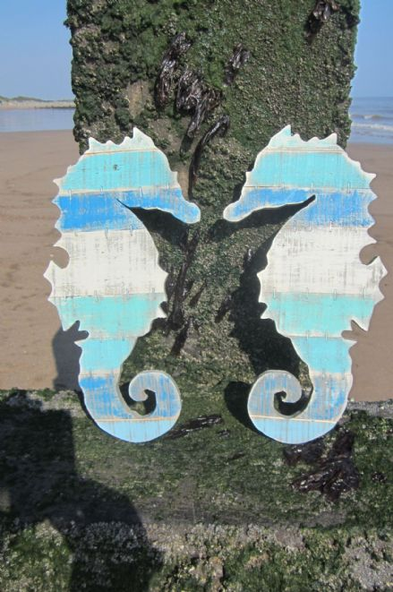 Pair of Seahorses Blue Wooden Distressed Boardwalk Coastal Wall Art